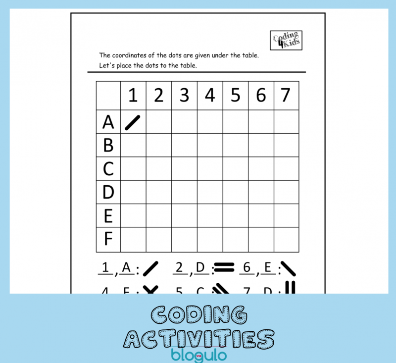 Coding and Algorithm Activities for Kids-Place in Coordinates