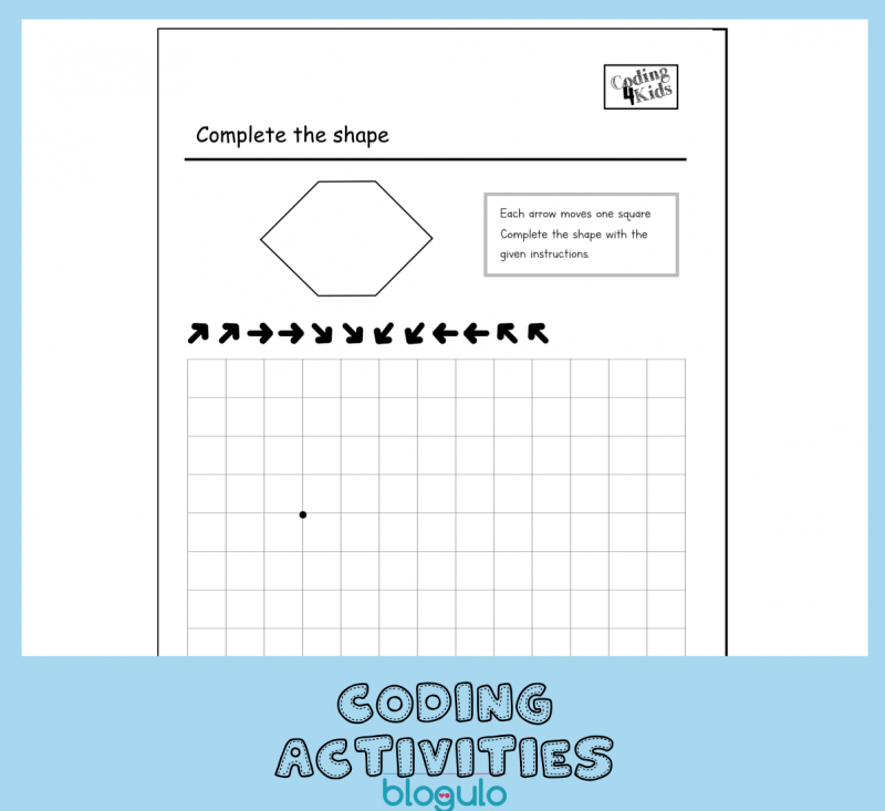 Coding and Algorithm Activities for Kids-Complete Shape