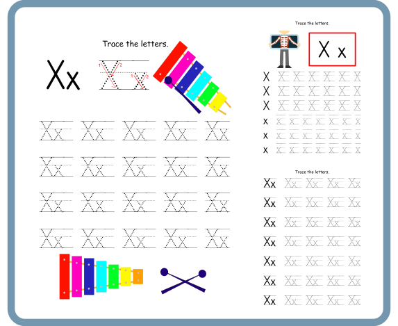 Letter X Tracing Worksheets – Free Download