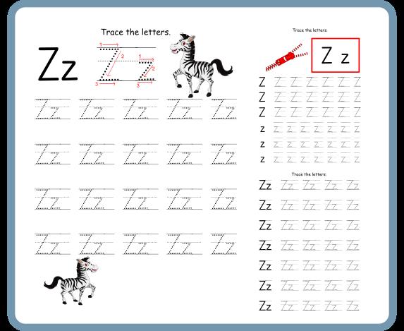 Letter Z Tracing Worksheets – Free Download