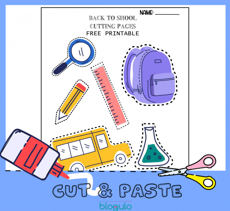 School Cut & Paste Activity Worksheets Printables