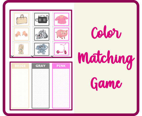 Color Matching Toddler Game Printable
