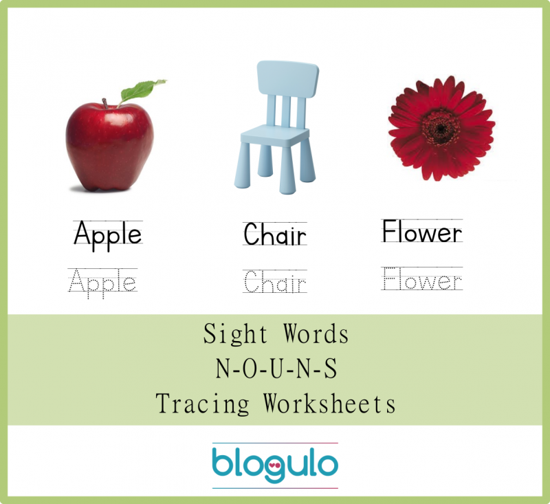 Sight Words – Nouns Tracing Worksheets Apple-Chair-Flower