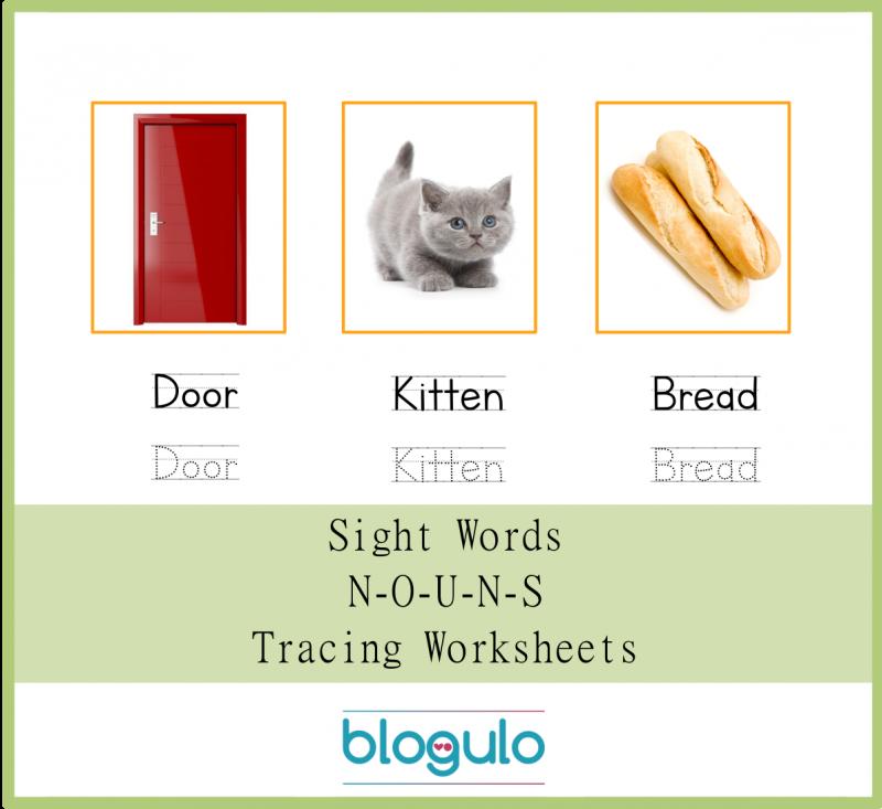 Sight Words – Nouns Tracing Worksheets Door-Kitten-Bread