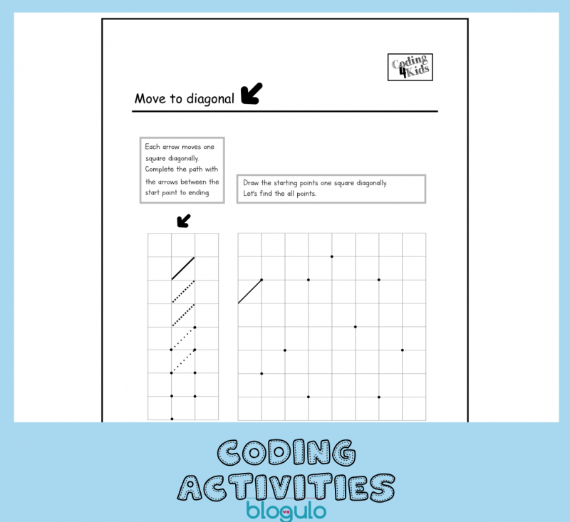 Coding and Algorithm Activities for Kids -Move Diagonal