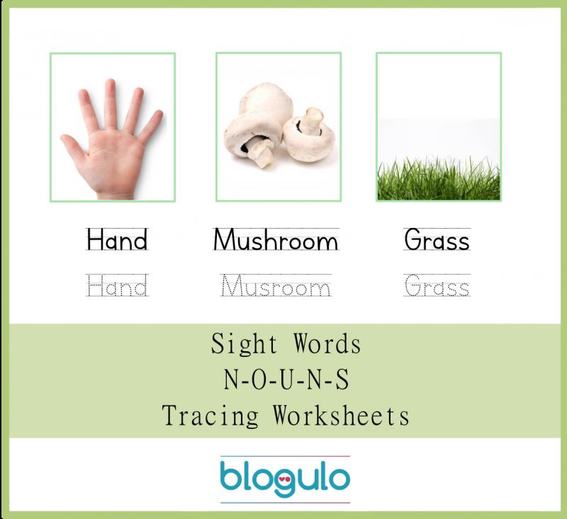 Sight Words – Nouns Tracing Worksheets Hand-Mushroom-Grass