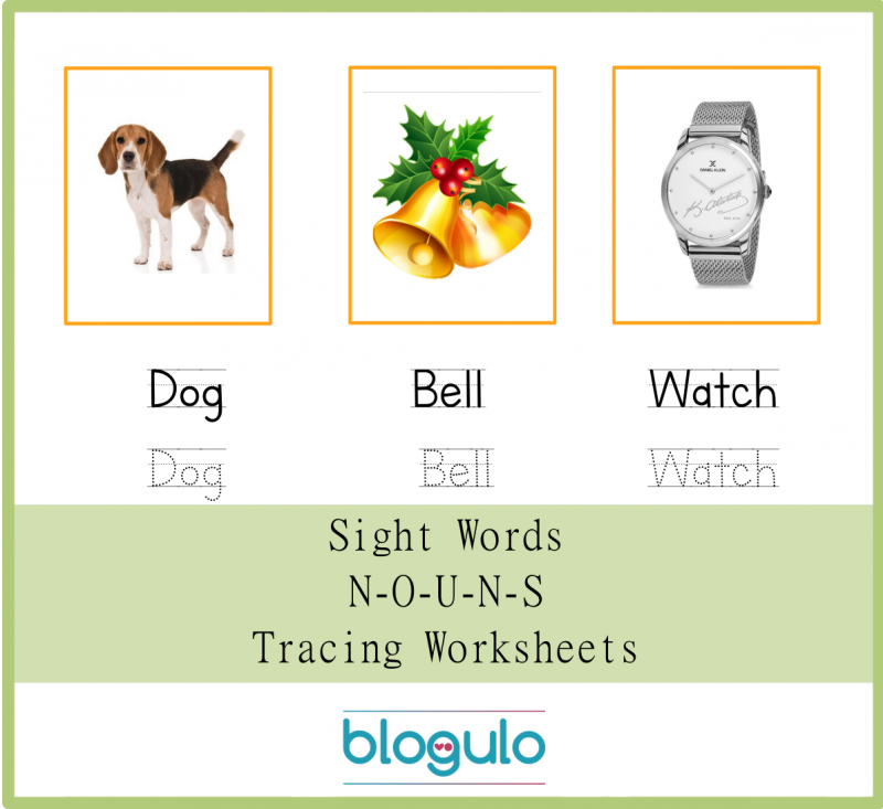 Sight Words – Nouns Tracing Worksheets Dog-Bell-Watch