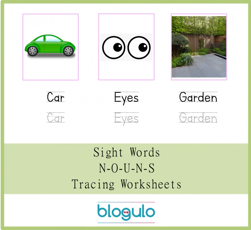 Sight Words – Nouns Tracing Worksheets Car-Eyes-Garden