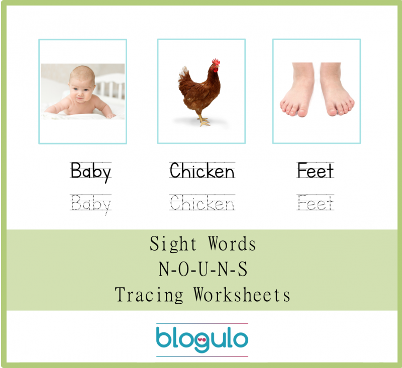 Sight Words – Nouns Tracing Worksheets Baby-Chicken-Feet