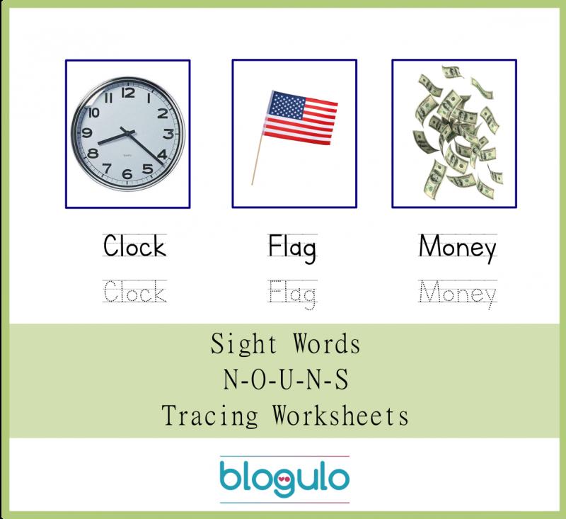 Sight Words – Nouns Tracing Worksheets Clock,Flag,Money