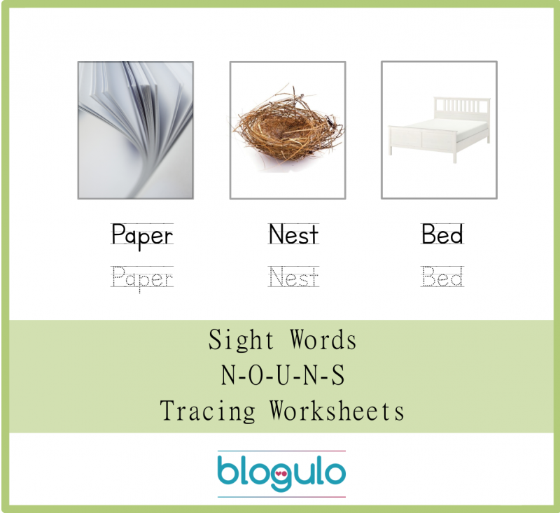 Sight Words – Nouns Tracing Worksheets Paper-Nest-Bed