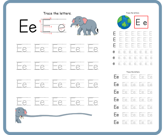 Letter E Tracing Worksheets – Free Download