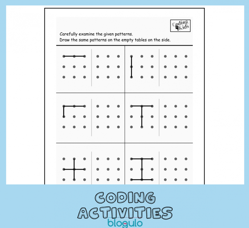 Coding and Algorithm Activities for Kids- Copy Lines