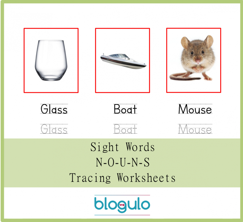 Sight Words – Nouns Tracing Worksheets Glass-Boat-Mouse