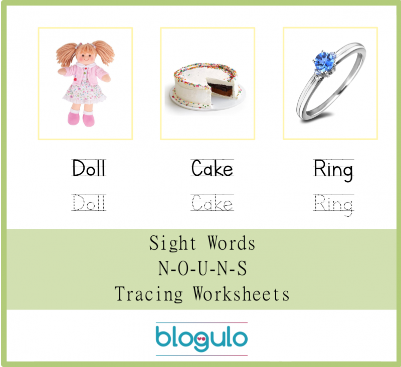 Sight Words – Nouns Tracing Worksheets Doll-Cake-Ring