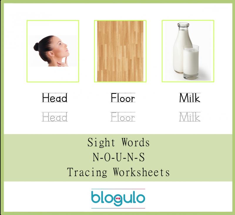 Sight Words – Nouns Tracing Worksheets Head,Floor,Milk