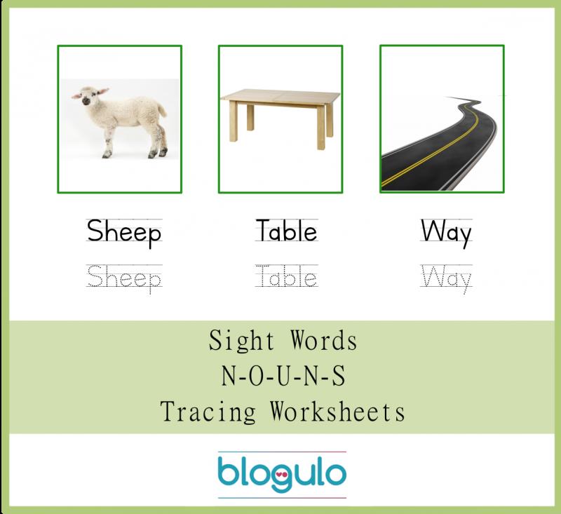 Sight Words – Nouns Tracing Worksheets Sheep-Table-Way
