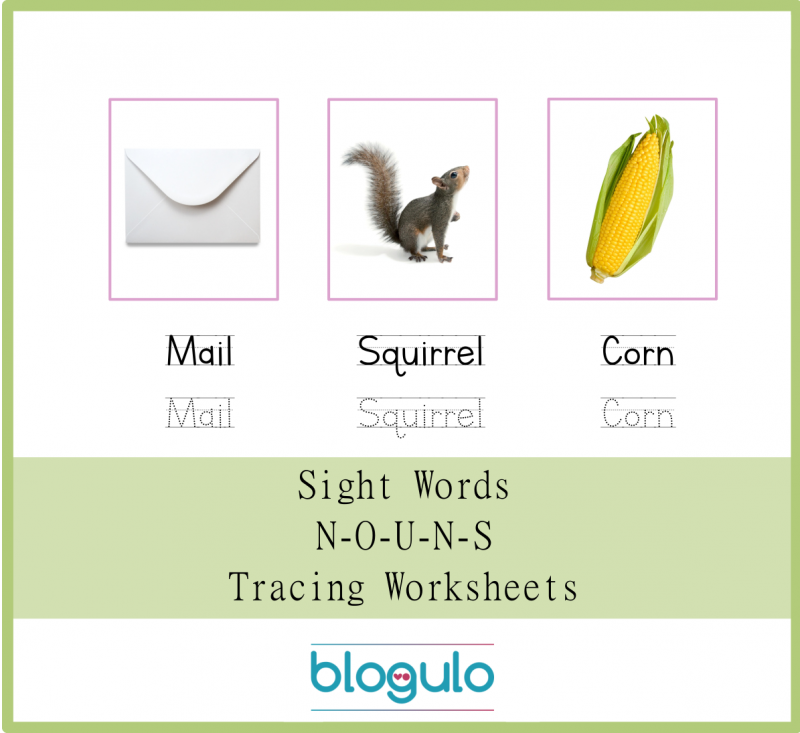 Sight Words – Nouns Tracing Worksheets Mail-Squirrel-Corn