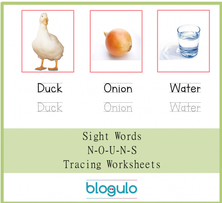 Sight Words – Nouns Tracing Worksheets Duck-Onion-Water