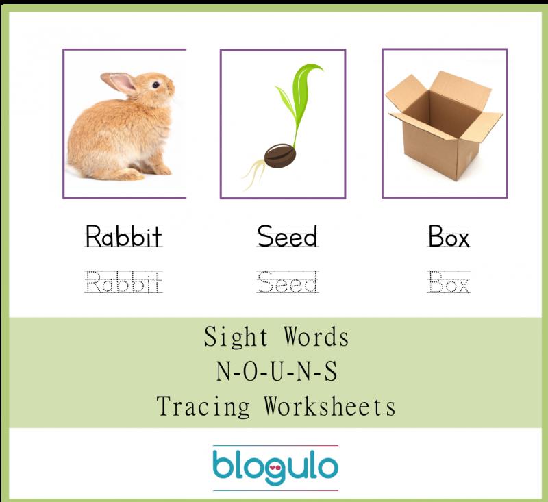 Sight Words – Nouns Tracing WorksheetsRabbit-Seed-Box