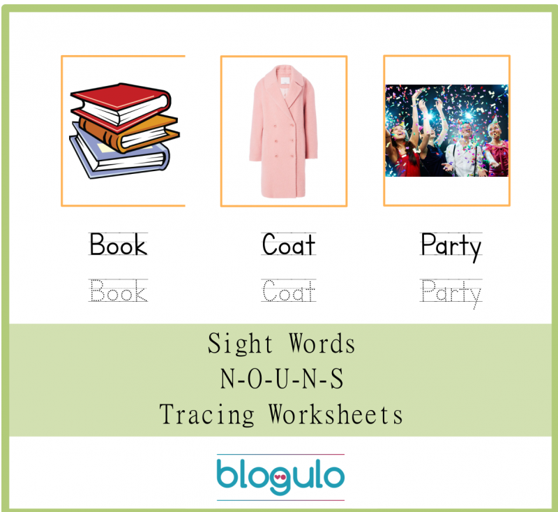 Sight Words – Nouns Tracing Worksheets Book-Coat-Party