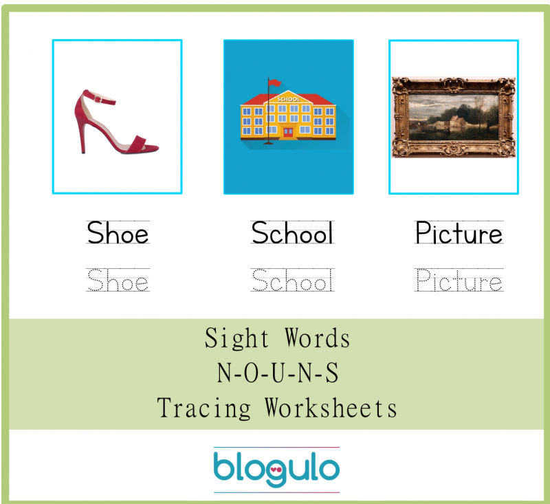 Sight Words – Nouns Tracing Worksheets Shoe-School-Picture