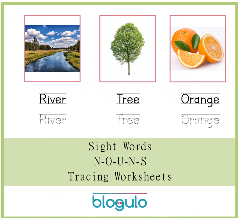 Sight Words – Nouns Tracing Worksheets River-Tree-Orange