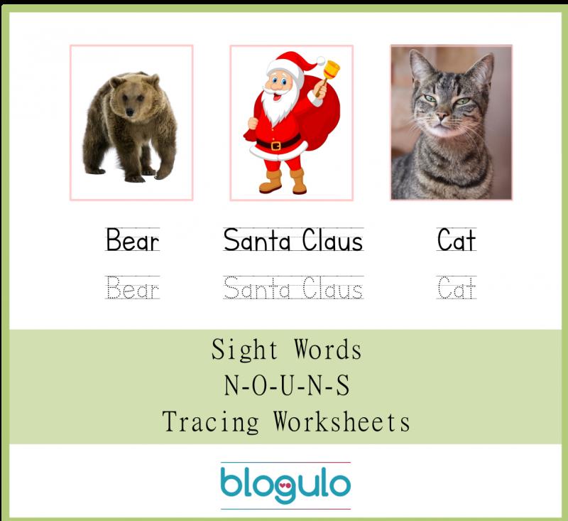 Sight Words – Nouns Tracing Worksheets Bear-Santa Claus-Cat