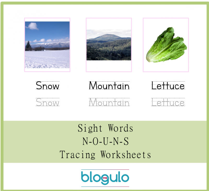 Sight Words – Nouns Tracing Worksheets Snow-Mountain-Lettuce