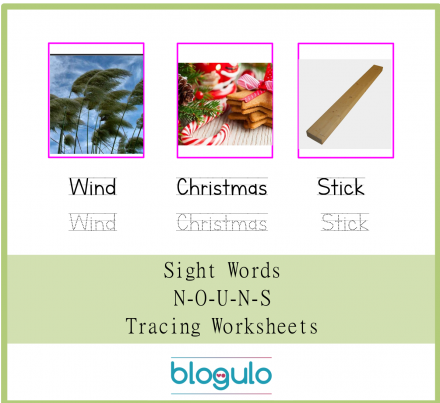 Sight Words – Nouns Tracing Worksheets Wind-Chrismas-Stick