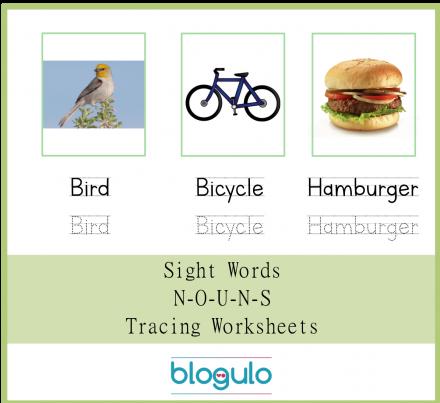 Sight Words – Nouns Tracing Worksheets Bird-Bicycle-Hamburger