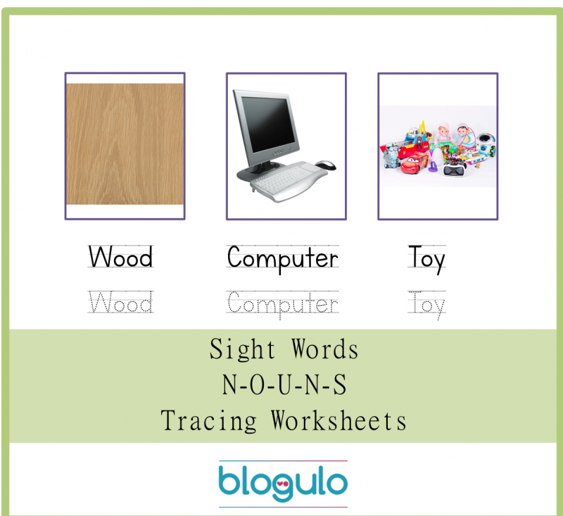Sight Words – Nouns Tracing Worksheets Wood-Computer-Toy
