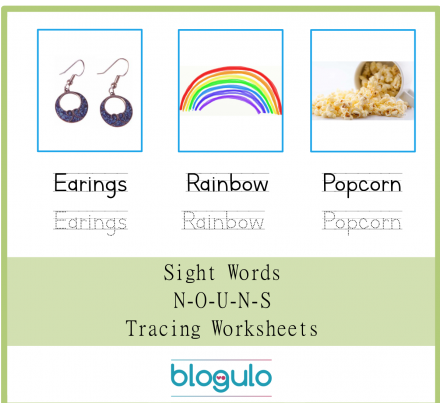 Sight Words – Nouns Tracing Worksheets Easrings-Rainbow-Popcorn