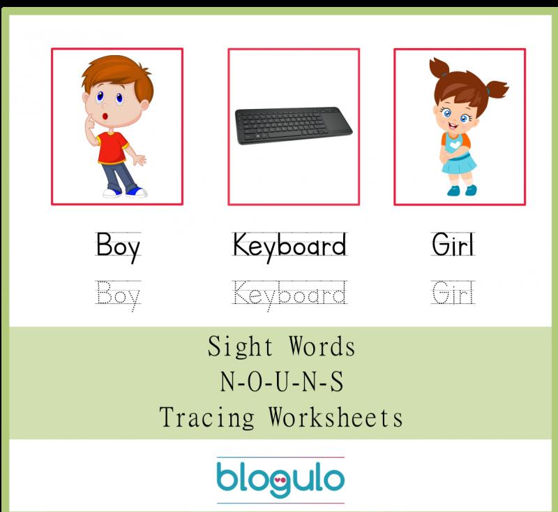 Sight Words – Nouns Tracing Worksheets Boy-Keyboard-Girl