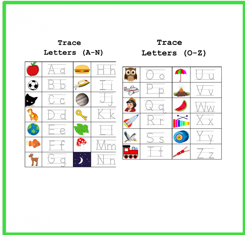 Letters Tracing Game Activity Worksheets – Free Download