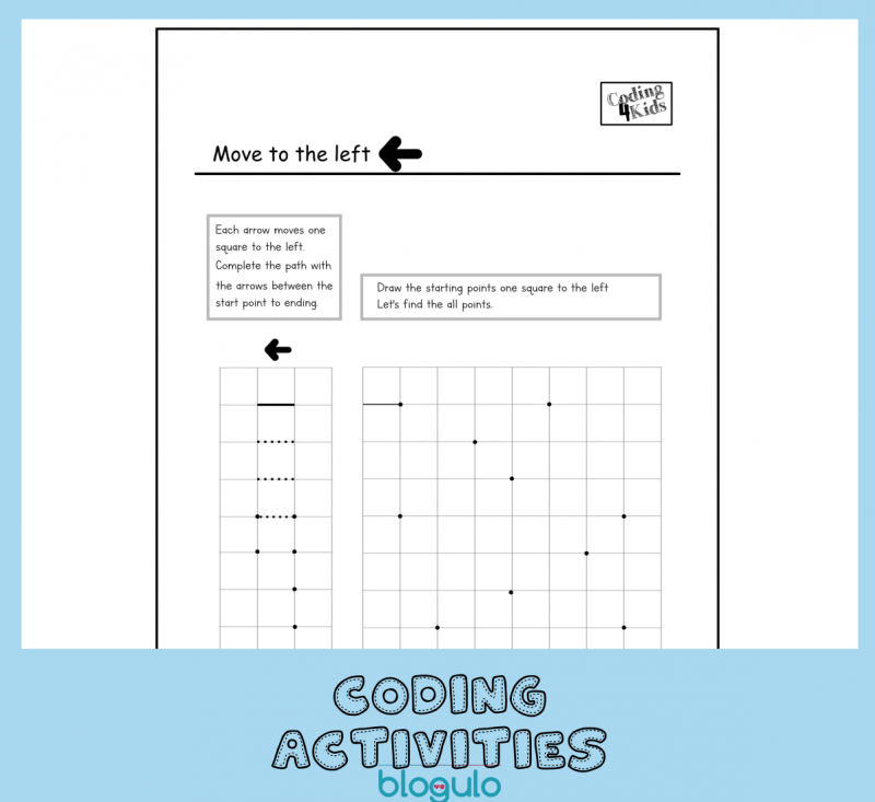 Coding and Algorithm Activities for Kids- Move Left