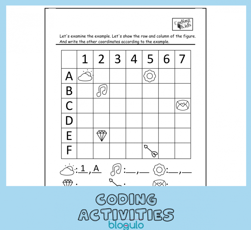 Coding and Algorithm Activities for Kids-Writing Coordinates