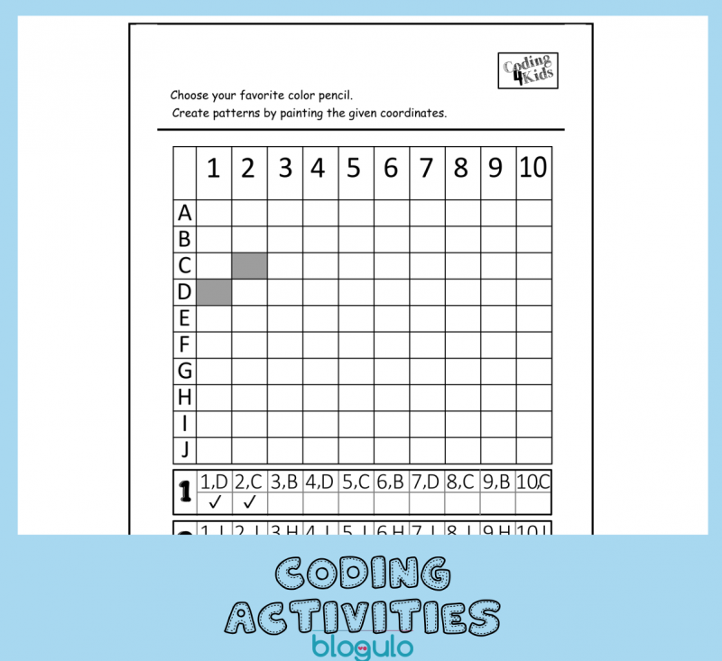 Coding and Algorithm Activities for Kids-Coloring Coordinates