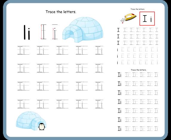 Letter I Tracing Worksheets- Free Download