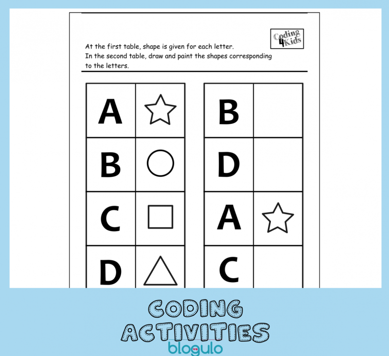 Coding and Algorithm Activities for Kids-Match the shapes