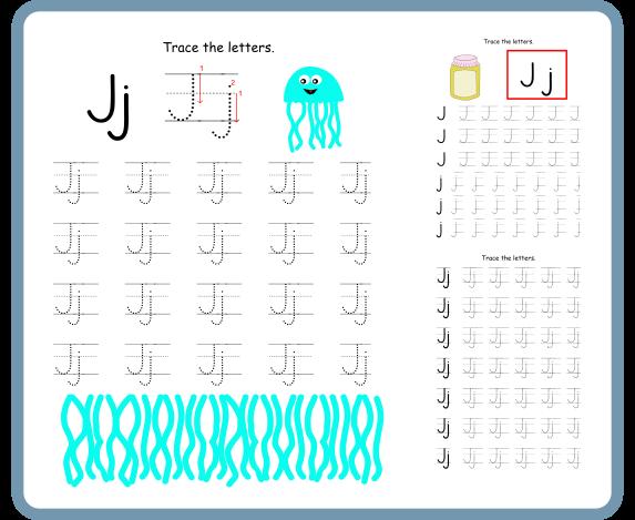 Letter J Tracing Worksheets- Free Download