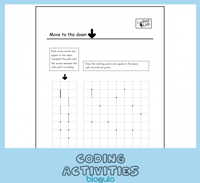 Coding and Algorithm Activities for Kids-Move down