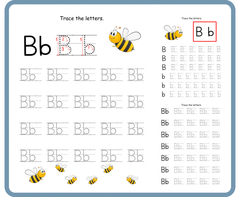 Letter B Tracing Worksheets-Free Download